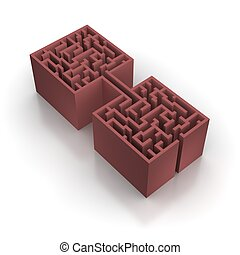 Red connected maze. 3d rendered illustration.