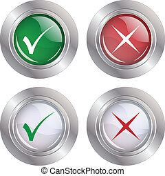 Button Check mark-Cancel - Illustration button check mark on...