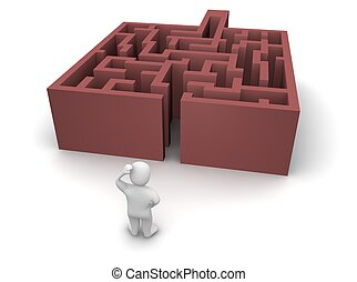 Man ahead of maze without exit. 3d rendered illustration.