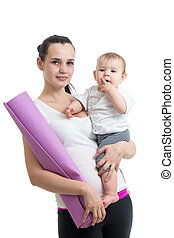 Mother holding baby ready to fitness isolated on white