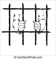 Hands Behind Bars - Inmate hands behind the bars, simple...