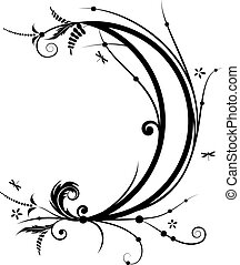 flower and new moon - vector illustration with flower and...