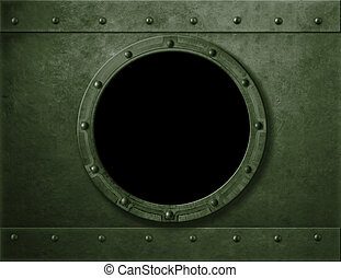 Military green armoured porthole or window metal background...
