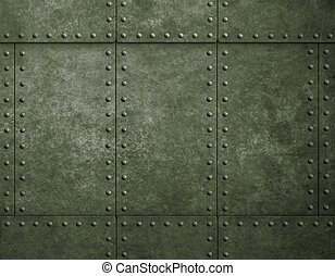 metal military green background with rivets