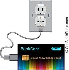 Bank card load - Bank black multicolor rainbow card cash...