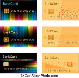 Bank card design set - Vector collection of black and gold...