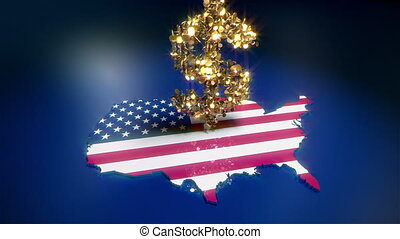 Falling coins on the US flag - Three animations simulate...