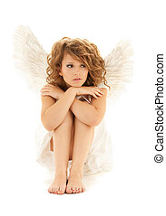 angel - picture of unhappy teenage angel girl over white