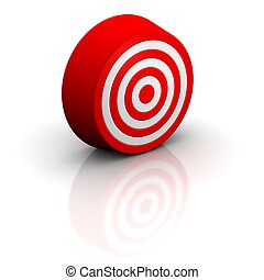 Red target with reflection. 3d rendered illustration.