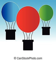 Balloons on blue- white background