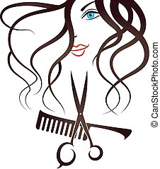 Face Girl scissors and comb - Face Girl silhouette, scissors...