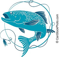 Salmon and bait for fishing - Salmon fishing and bait vector