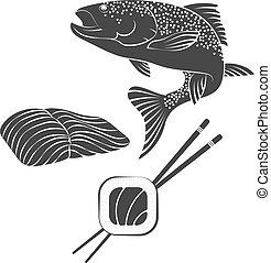 salmão, vetorial,  sushi