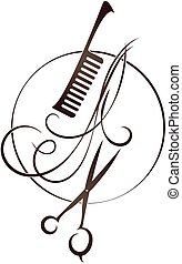 Scissors and hairbrush Beauty salon symbol - Scissors and...
