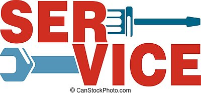 Service with a tool vector - Caption service with a business...