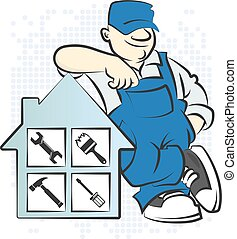 Serviceman with the tool vector illustration