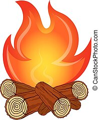 The fire on fire wood vector - Fire on fire wood camping...
