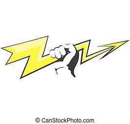 The lightning in the hand vector