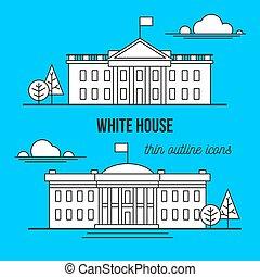 white house washington dc icon - white house. thin outline...