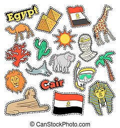 Egypt Travel Elements with Architecture and Pyramids. Vector...