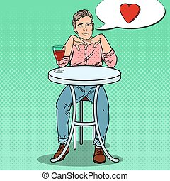 Pop Art Handsome Man in Love with Glass of Wine