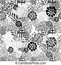 Seamless Hawaiian pattern classic flat style. retro flowers of hibiscus. Vector illustration