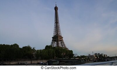 FRANCE, PARIS: Part of famous Eiffel Tower from the boat on river