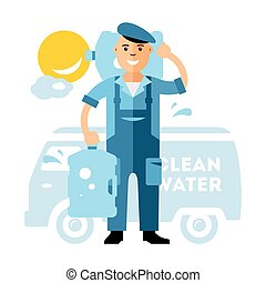 Vector Clean Water delivery. Flat style colorful Cartoon...