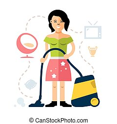 Vector Young woman cleaning with a vacuum cleaner. Flat...