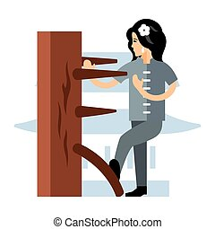 Wing Chun kung fu Woman at a wooden dummy. Flat style...