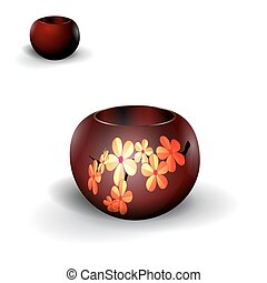Pots, planters for flowers, Ikebana. With a picture of cherry. Isolated on white background with shadow. illustration
