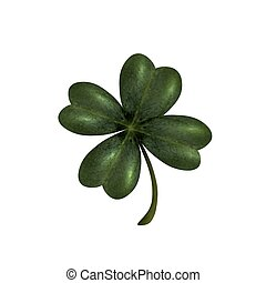 Four-leaf clover. The symbol of St. Patrick s Day. Isolated on white background . illustration