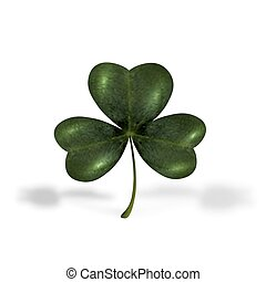 Trifoliate clover. The symbol of St. Patrick s Day. Isolated on white background with shadows. illustration