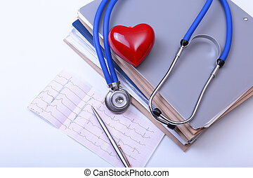 Closeup of stethoscope,red heart on a rx prescription and phone
