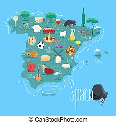 Map of Spain vector illustration, design element