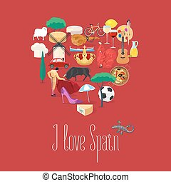 Set of Spanish landmarks, culture, music, food icons in...