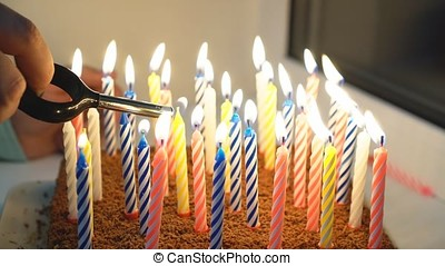 Birthday cake with many candles.