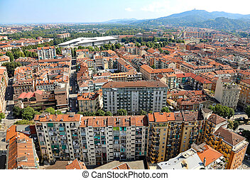 aerial view of a European metropolis with roofs - aerial...