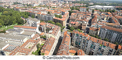 big City with many buildings in Italy - Turin City with many...