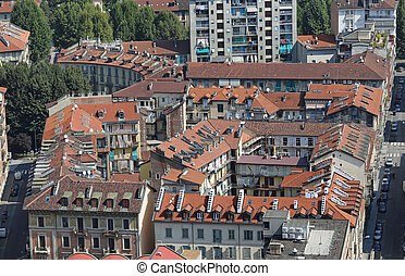 top view of a European metropolis with many roofs - view of...