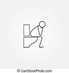 Cartoon icon of sketch stick figure doing life routine...