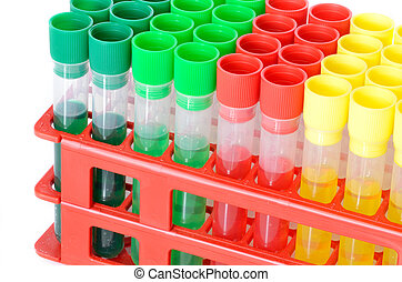 Set of chemical test tubes, flasks for laboratory isolated