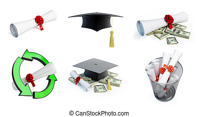 Graduation hat diplom set on a white background 3D...