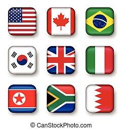Set of world flags quadrangular badges ( USA . Canada ....