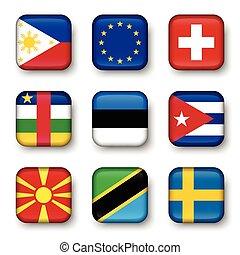Set of world flags quadrangular badges ( Philippines ....