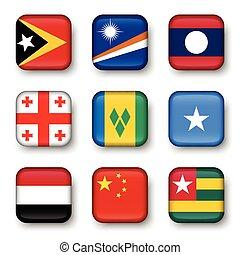 Set of world flags quadrangular badges ( East Timor ....