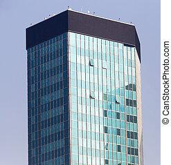 skyscraper on a background of blue sky