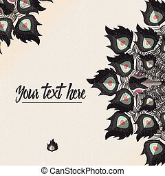 Template card with peacock colorful feathers and place for text