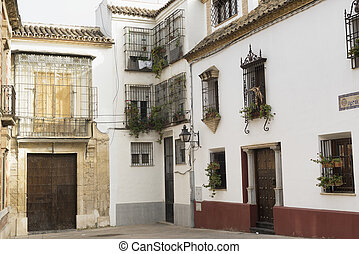 Cordoba (Andalucia, Spain): old typical square in the...