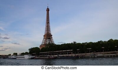 FRANCE, PARIS: Famous Eiffel Tower from boat on river